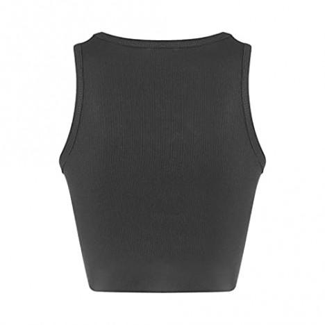 Women's Summer Sleeveless Vest Y2K Style Solid Color Rhinestone Crew Neck Top
