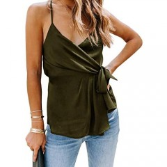 Womens V Neck Wrap Cami Tops Tie Knot Tank Tops with Adjustable Spaghetti Strap
