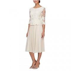 Alex Evenings Women's Tea Length Sequin Mock Dress (Petite and Regular)