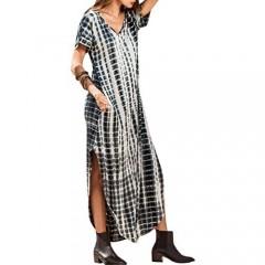 Women Summer Casual Maxi Dress Loose Pockets Short Sleeve Split Boho Dresses
